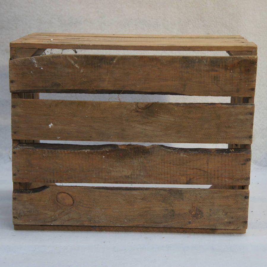 caisse en bois vintage claire 3 lattes madecovintage. Black Bedroom Furniture Sets. Home Design Ideas