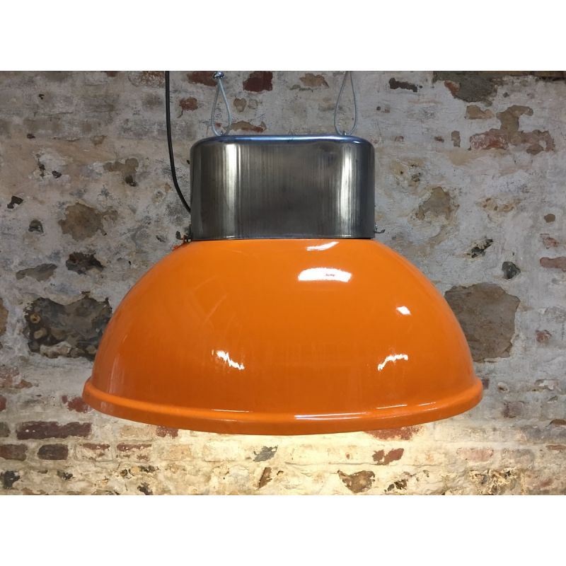 Lampe industrielle ovale orange haut poli