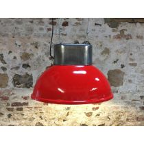 Lampe industrielle ovale rouge haut poli