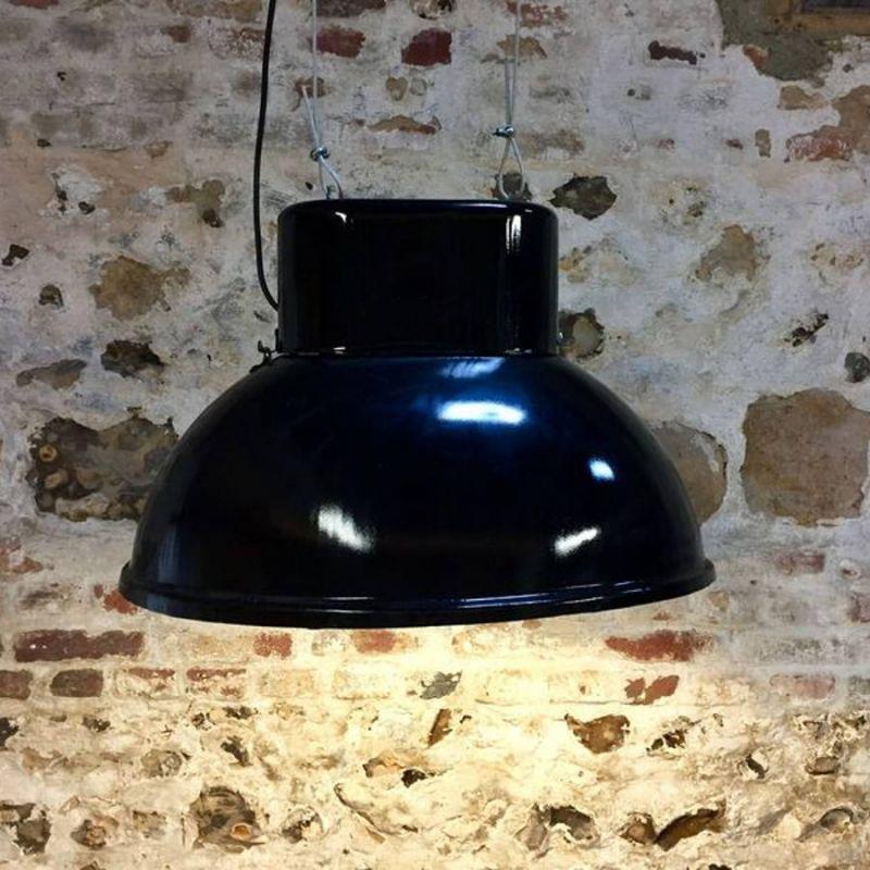 Lampe industrielle Ovale noire
