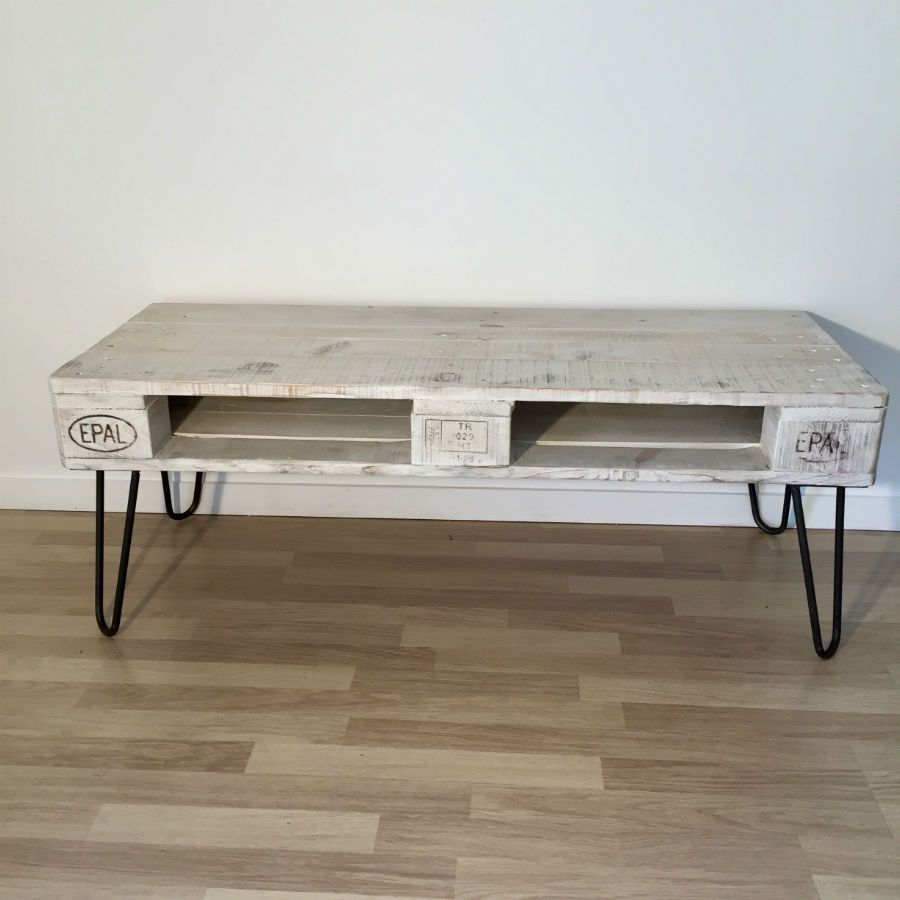 Table basse en palette europe blanche - Table basse palette blanche ...