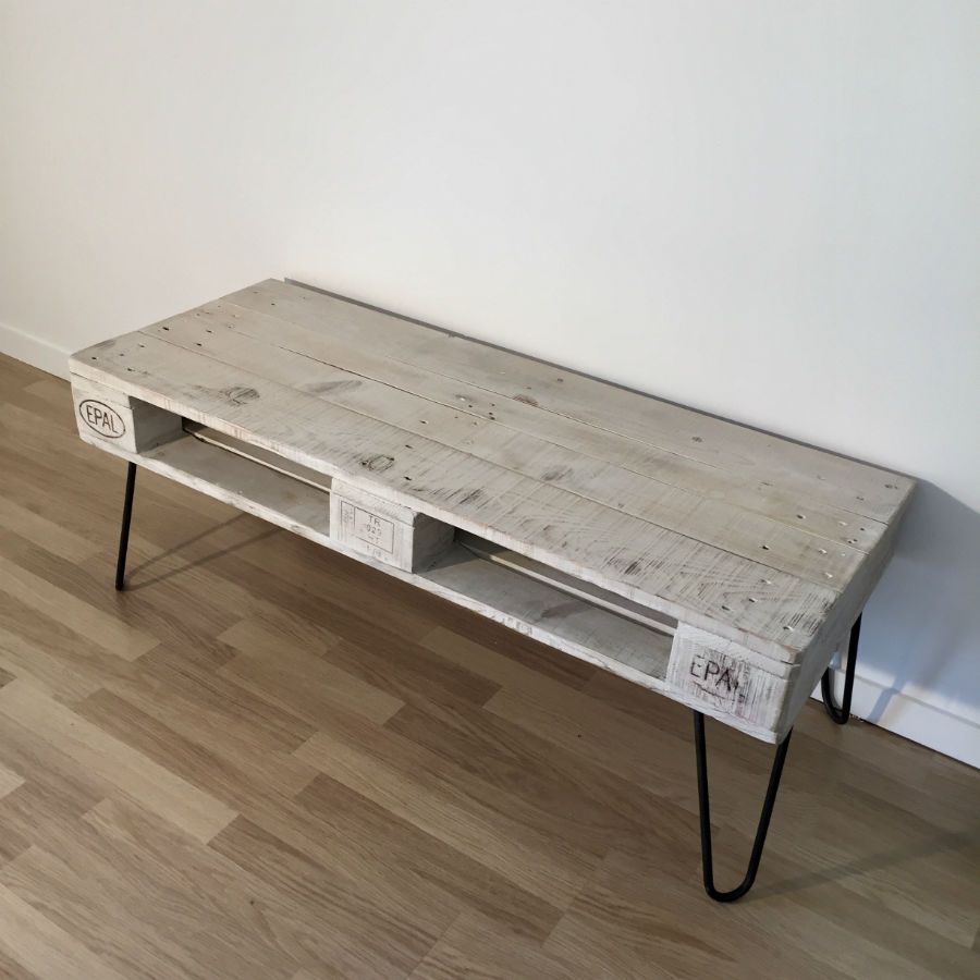 table basse en palette europe blanche