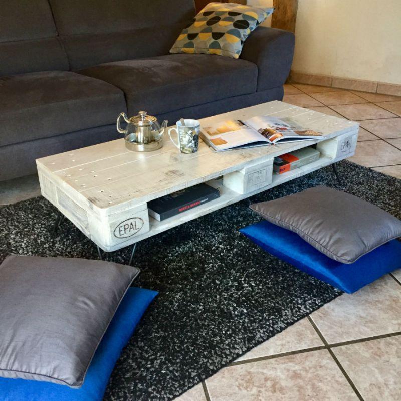 table basse en palette europe blanche. Black Bedroom Furniture Sets. Home Design Ideas