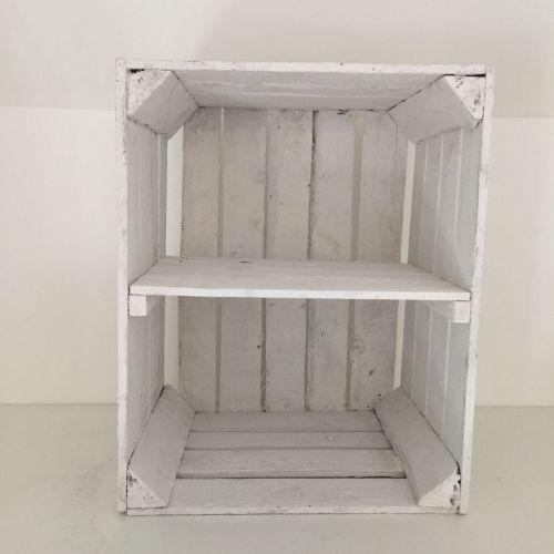 Etagère verticale caisse en bois blanche
