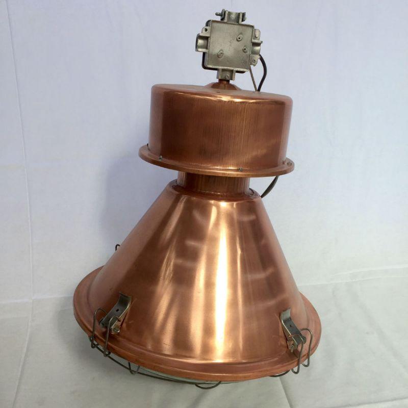 Lampe industrielle ellipse cuivrée