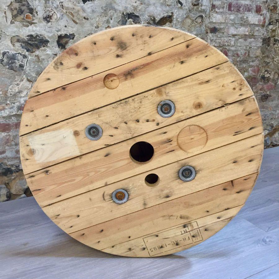 Touret en bois clair 80 cm de diamètre -> Touret Bois Relooke Industriel