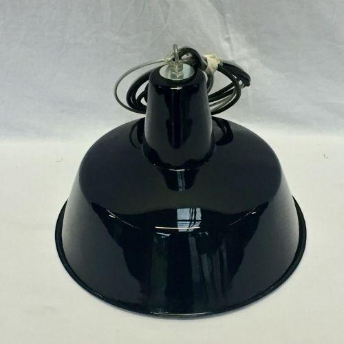 Lampe industrielle ronde émaillée noire