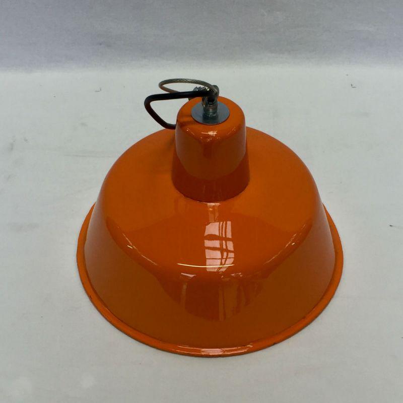 Lampe ronde émaillée orange