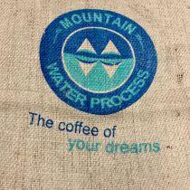 Sac de café en toile de jute Logo bleu