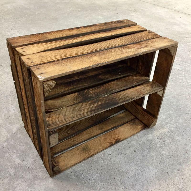 caisse en bois d class e tag re horizontale br l e madecovintage. Black Bedroom Furniture Sets. Home Design Ideas