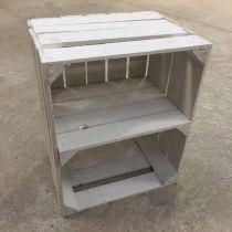 Etagère verticale Caisse en bois blanche déclassée