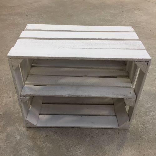 Etagère horizontale Caisse en bois blanche déclassée
