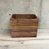 Caisse en bois 3 lattes marron 1/2 largeur