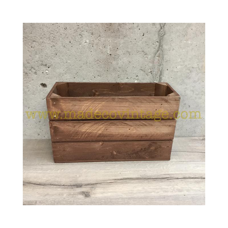 Caisse en bois 3 lattes marron 1/2 hauteur