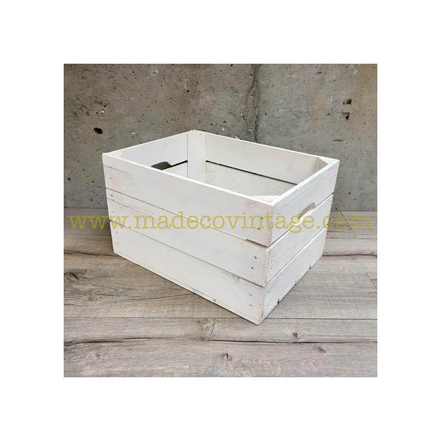 caisse en bois 3 lattes de couleur blanche. Black Bedroom Furniture Sets. Home Design Ideas