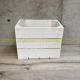 Caisse en bois 3 lattes blanche 1/2 largeur