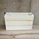 Caisse en bois 3 lattes blanche 1/2 hauteur