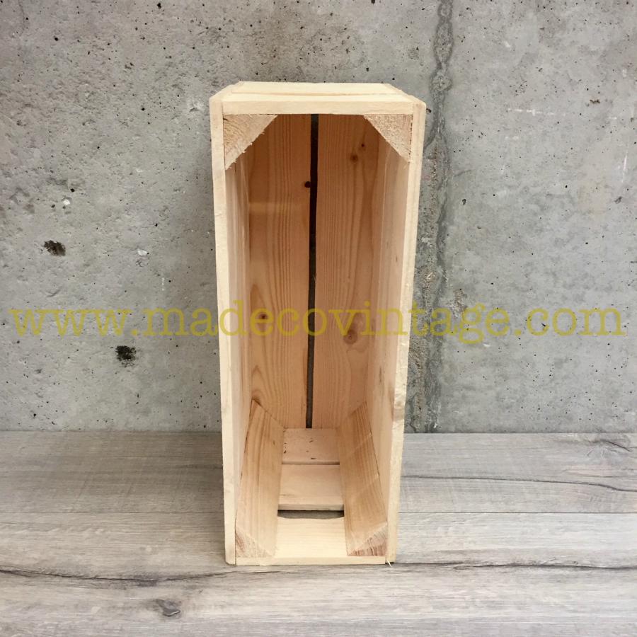 caisse en bois 3 lattes de couleur bois naturel 1 2 hauteur. Black Bedroom Furniture Sets. Home Design Ideas