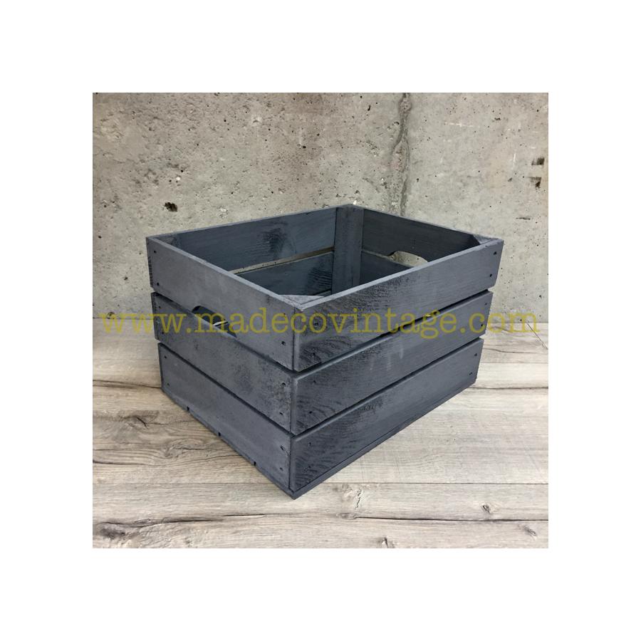 caisse en bois 3 lattes de couleur grise. Black Bedroom Furniture Sets. Home Design Ideas