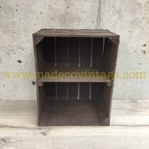 étagère verticale déclassée caisse en bois marron