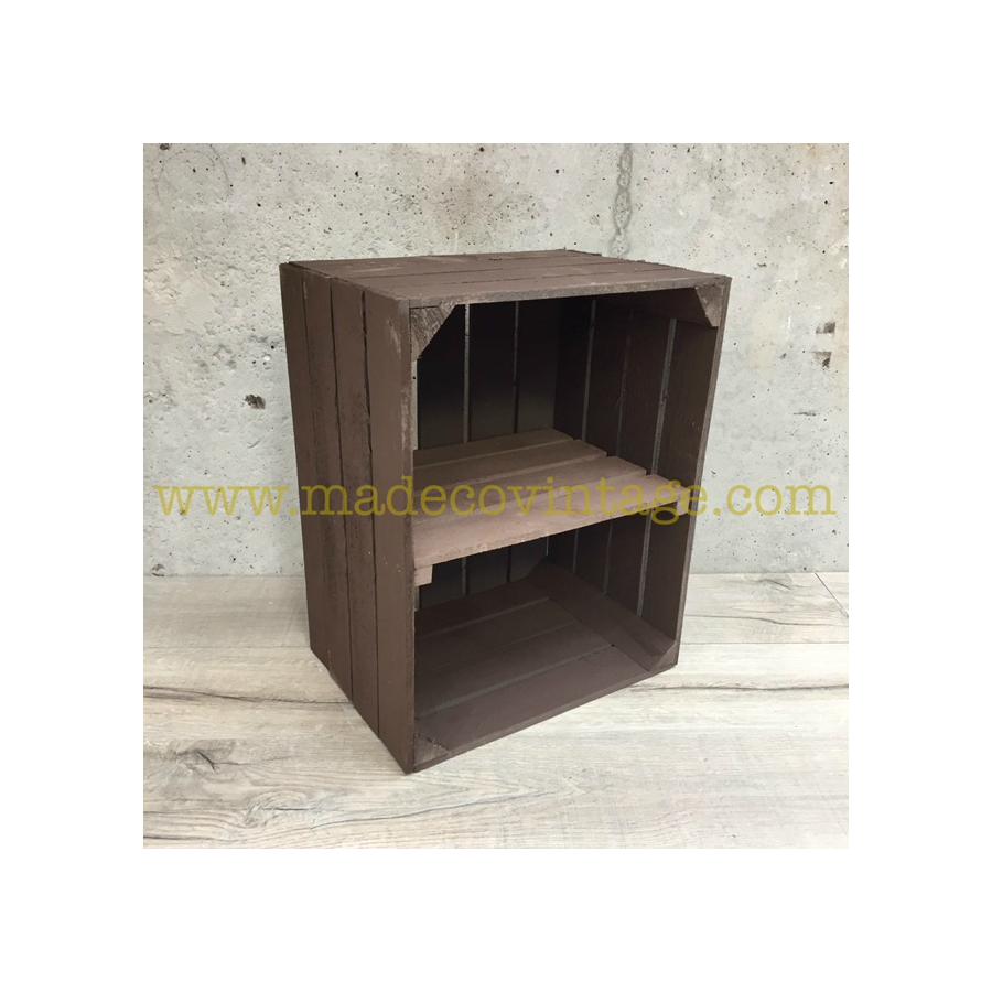 Tag re verticale caisse en bois marron - Etagere caisse en bois ...