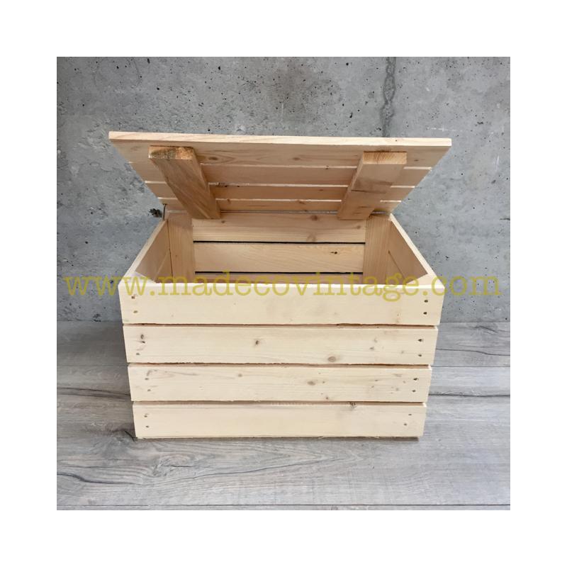 Coffre en caisse en bois naturel