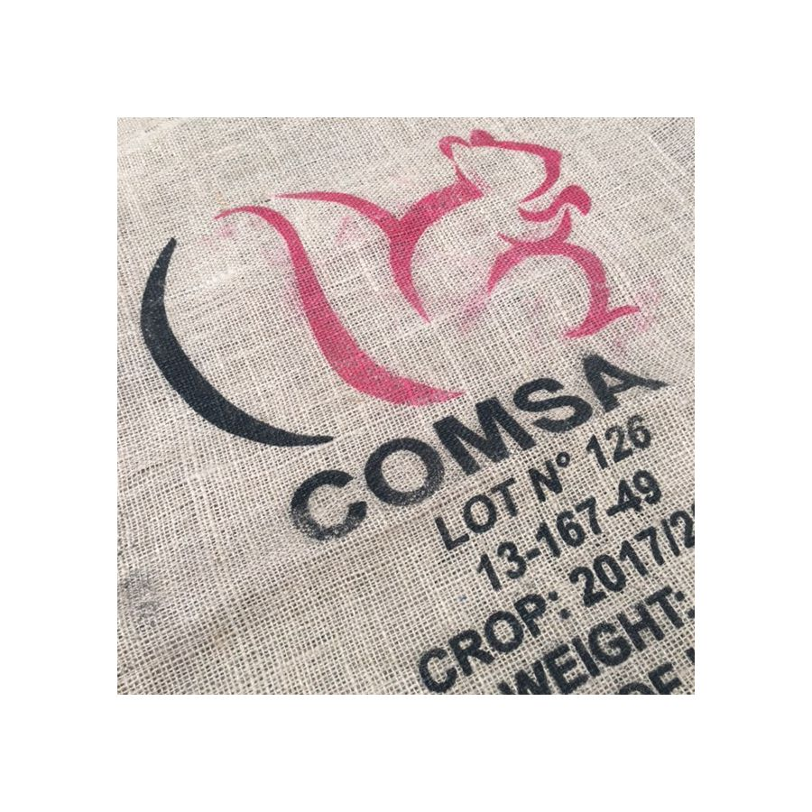 authentique sac de caf en toile de jute comsa logo cureuil. Black Bedroom Furniture Sets. Home Design Ideas