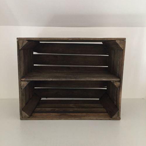 Etagère horizontale ancienne caisse en bois brûlé