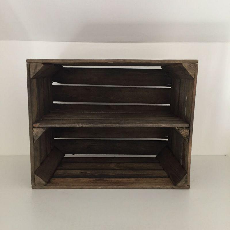 étagère horizontale caisse en bois brûlé