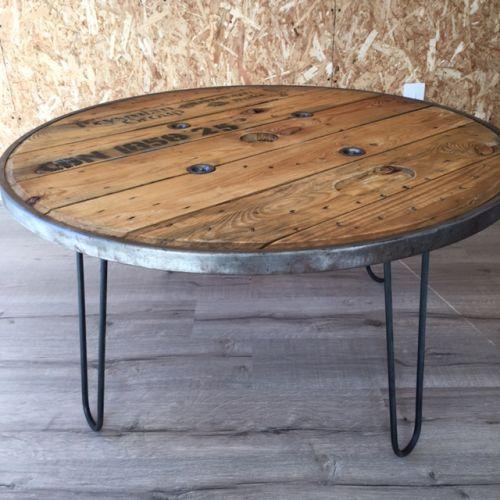 Table basse touret cerclage métallique104cm