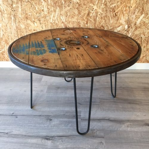 Table basse touret cerclage métallique 90cm