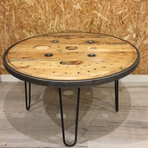 Table basse touret cerclage métallique 90cm