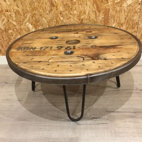 Table basse touret cerclage métallique 75cm