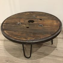 Table basse touret cerclage métallique 75cm