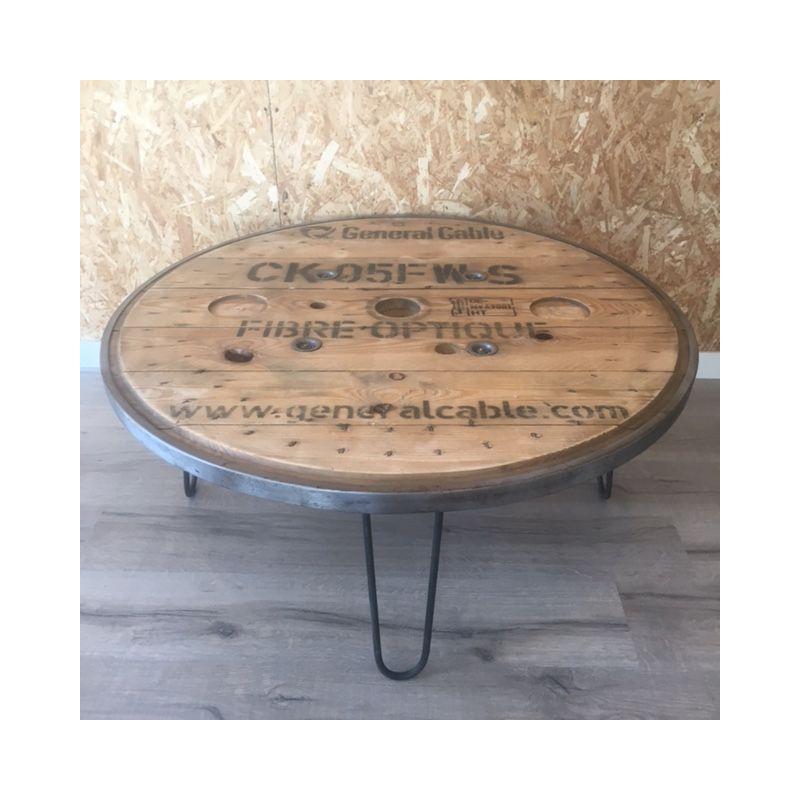 Table basse touret cerclage métallique105cm